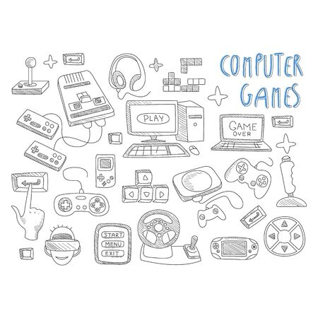 computer games: Computer games doodles icon set vector illustration