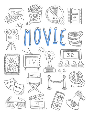 film industry: Cinema doodles set of hand drawn  vector illustration