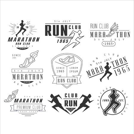 corriendo: Correr etiquetas club, emblemas y elementos de dise�o conjunto de vectores