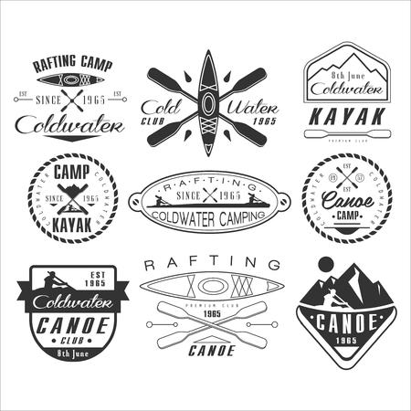 ocean kayak: Kayak y canoa emblemas, insignias y elementos de dise�o conjunto de vectores