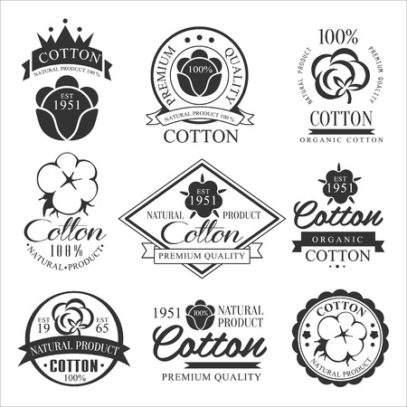 Cotton badges design, organic product. Vector set