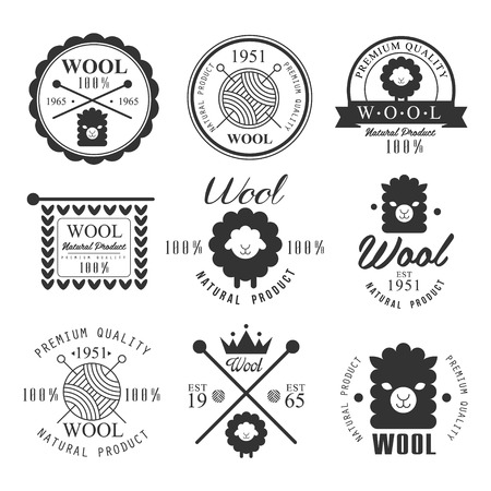 Wool labels and elements. Stickers and emblems for natural wool products. Vector set Çizim