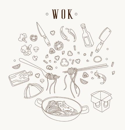 steel pan: Ilustración Wok. Sartén asiática. Ilustración del concepto de restaurante dibujado a mano Vectores
