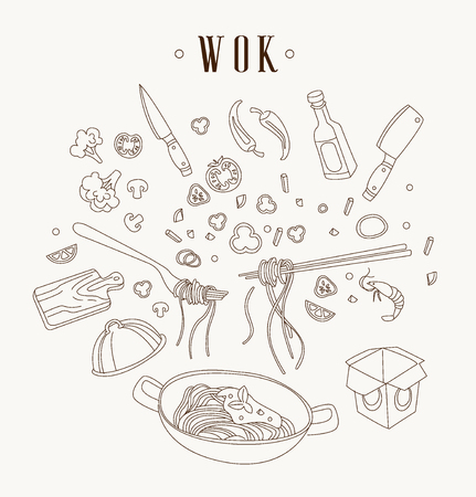 Wok illustration. Asian frying pan. Concept illustration for restaurant hand drawn