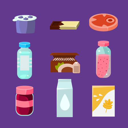 everyday: Common Goods and Everyday Products in Flat Style. Vector Collection Illustration