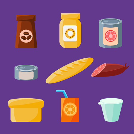 provision: Common Goods and Everyday Products in Flat Style. Vector Set Illustration