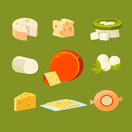 holand: Different Types of Cheese Vector Illustration Collection