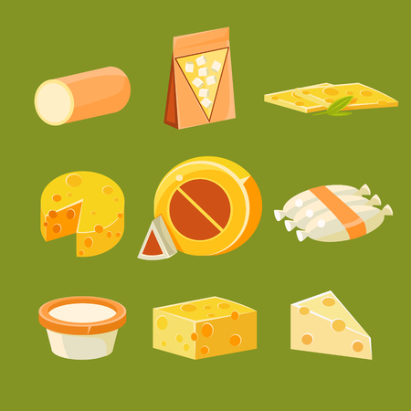 holand: Different Types of Cheese, Flat Vector Illustration Collection