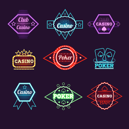 ace of spades: Neon Light Poker Club and Casino Emblems Vector Collection Illustration