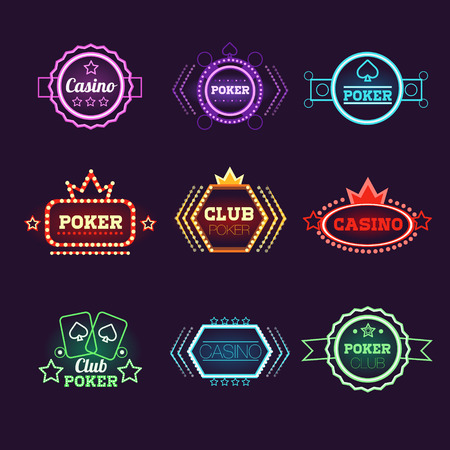 cards poker: Neon Light Poker Club and Casino Emblems Vector Set