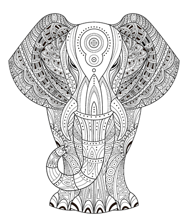 Ornated Elephant Vector illustration in style.  Illustration