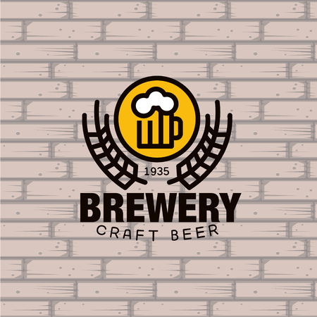 beer icon: Simple Brewery beer mug against a brick wall Vector Illustration