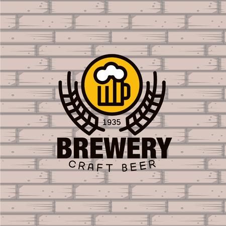 beer barrel: Simple Brewery beer mug against a brick wall Vector Illustration