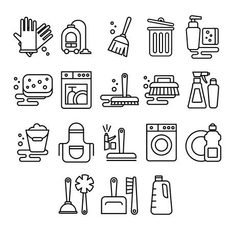 limpieza: Servicio de limpieza, lavandería, lavado, escoba, limpieza, lavar ventanas, frescura, iconos balde vector en estilo plano Vectores