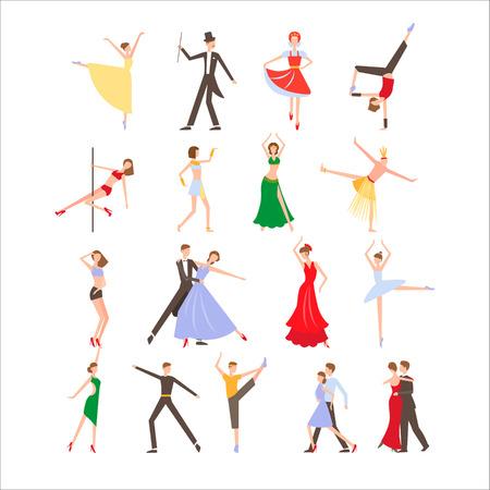 jive: Dance festival, different dance styles, flat icon set isolated illustration Illustration