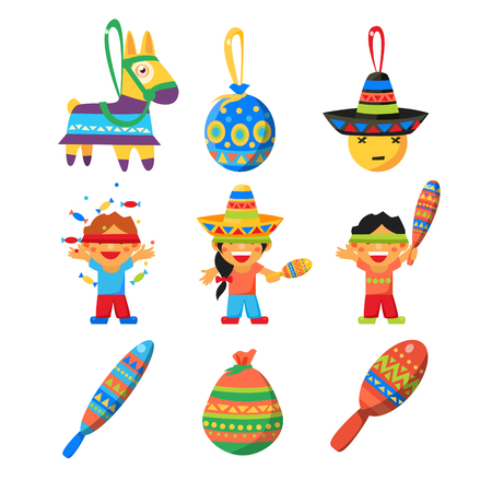 horse pipes: Colourful Indian Set. Cute Vector Illustration Illustration