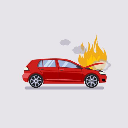 Le capot cassée de la voiture rouge est couvert avec le feu et la fumée. le style plat illustration vectorielle isolé sur fond gris.