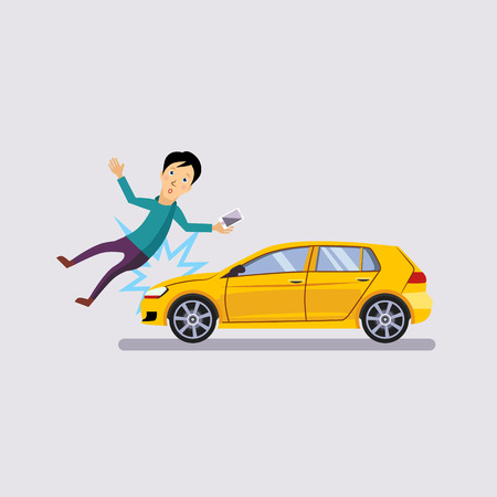 Traffic accident, the vehicle knocked the man flat style vector illustration