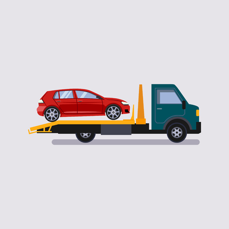Roadside assistance tow truck illustration car vector Stock Vector - 49871208