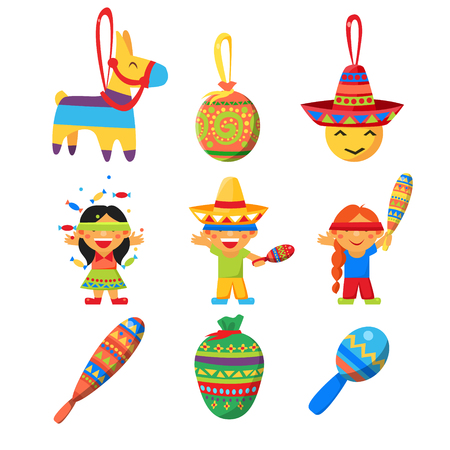 horse pipes: Colourful Indian Set. Cute Vector Illustration Collection