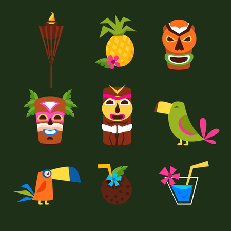 tiki party: Hawaii Surf Retro Posters Collection in Flat Design Style. Vector Illustration Set.