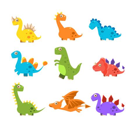작은 Colurful 공룡 설정합니다. 벡터 일러스트 레이 션