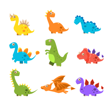 flying dragon: Small Colurful Dinosaur Set. Vector Illustration