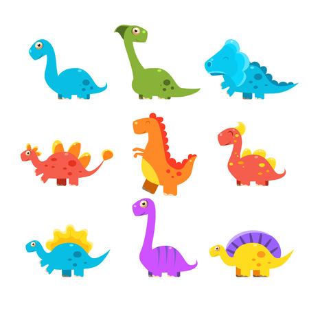 colurful: Small Colurful Dinosaur Set. Vector Illustration Collection