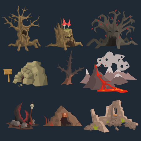 fantasy landscape: Swamp, Tree and Cave Game Vector Set Illustration