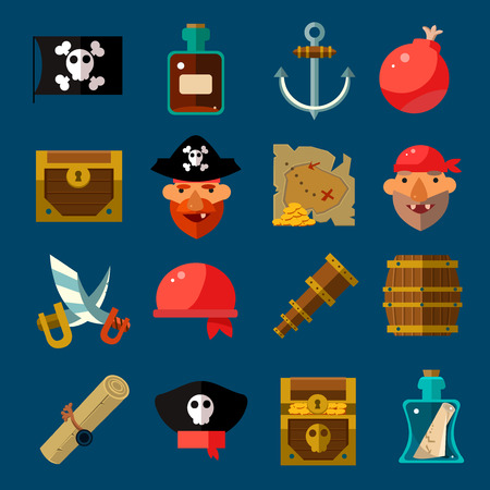 cocked hat: Pirate Game icons Flat style  Vector Illustration Set