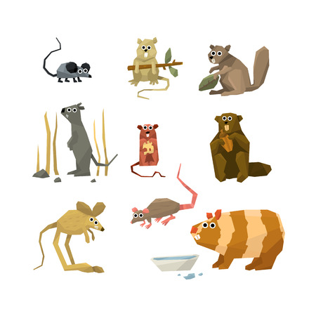 Mice and rodents icons Vector Illustration Collection Ilustracja