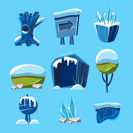 graphical user interface: Cartoon vector winter game Nature Elements set