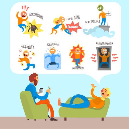Psychotherapeut met Liggen de patiënt bespreken Phobia. Flat Vector Illustration