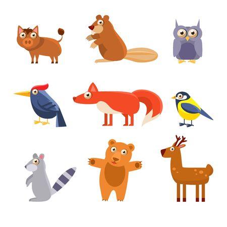 chickadee: Cute Wild Forest Animals. Vector Illustration Set Illustration