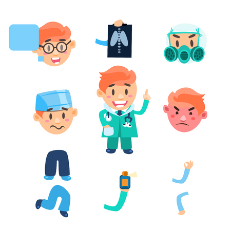 embarassed: Doctor designer Healthcare Infographic Elements. Vector Collection Illustration