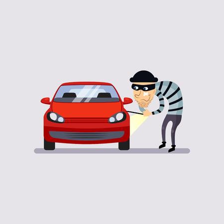 robo de autos: El seguro del automóvil y el robo de la ilustración de estilo plano colorido del vector