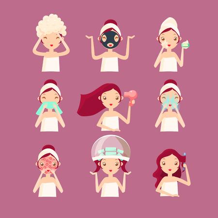 Women in Beauty Saloon. Vector Illustration Set