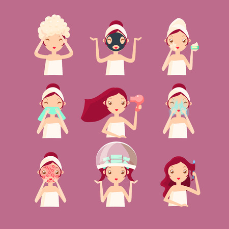 hair mask: Women in Beauty Saloon. Vector Illustration Set