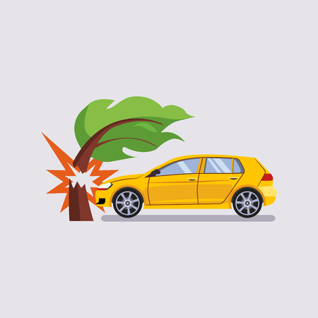 Car Insurance and Crash Risk Colourful Vector Illustration