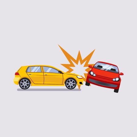 Seguro de coche y Accidentes de Riesgos Ejemplo colorido del vector Foto de archivo - 49974385