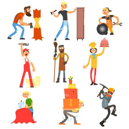 plumber: Profesión y ocupación, las personas con sus herramientas de trabajo ilustración vectorial Conjunto