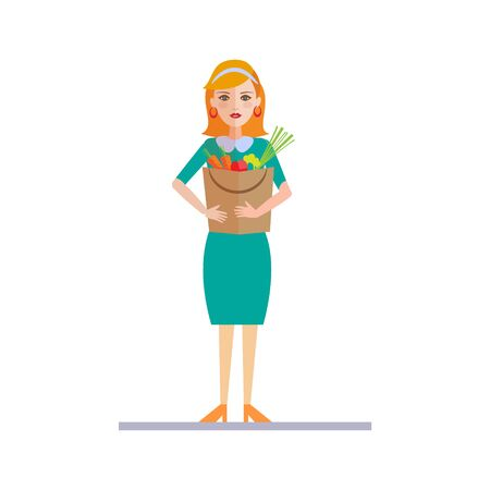woman holding bag: Woman Holding a Shopping Bag with Food. Vector Illustration Illustration