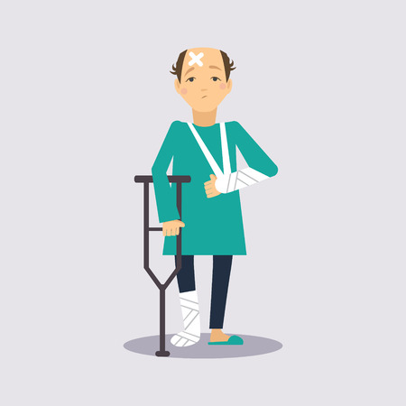 old person: Trauma Insurance Colourful Vector Illustration flat style