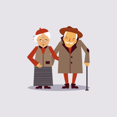 aged: Insurance for Aged Colourful Vector Illustration flat style