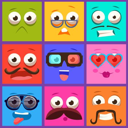 gestos de la cara: Caras de dibujos animados con las emociones y el bigote. colecci�n del vector Vectores