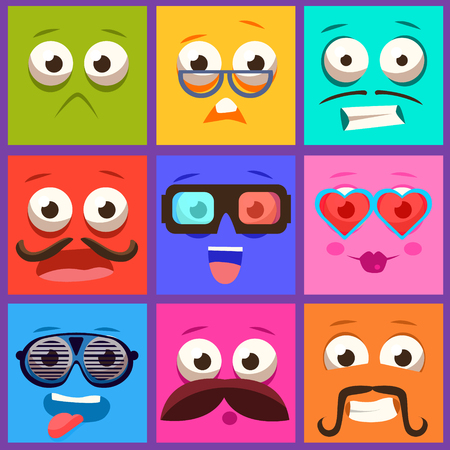 aliens: Cartoon faces with emotions and mustache. Vector collection Illustration