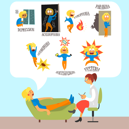 phobia: Psychotherapist with Lying Patient Discussing Phobia. Colourful Vector Illustration