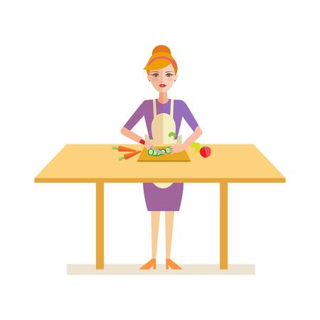 cucumber salad: Woman Prepares Cucumber for a Salad. Vector Illustration