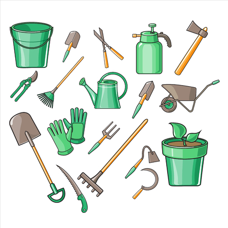 weeder: Gardening Tools Vector Illustration Collection icon set