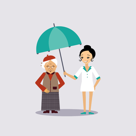 Senior Medical Insurance Colourful Vector Illustration flat style
